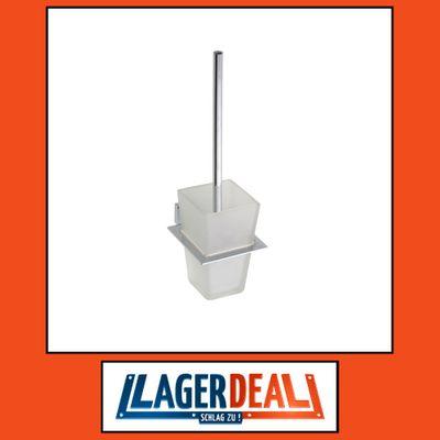 WC-Bürstengarnitur mit Glasbehälter 115 x 360 x 150 mm Messing Chrom