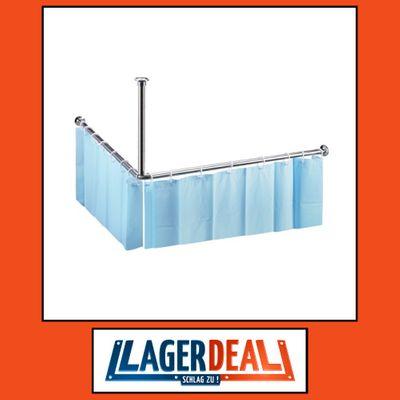 Duschvorhangstange Ø 25 900 x 490 x 900 mm Edelstahl / Messing / PVC Poliert / Chrom