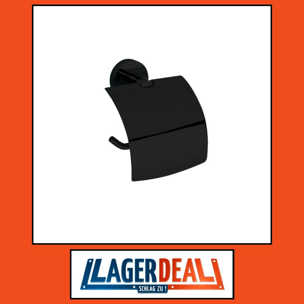 Papierrollenhalter mit Deckel 140 x 155 x 80 mm  Messing Schwarz