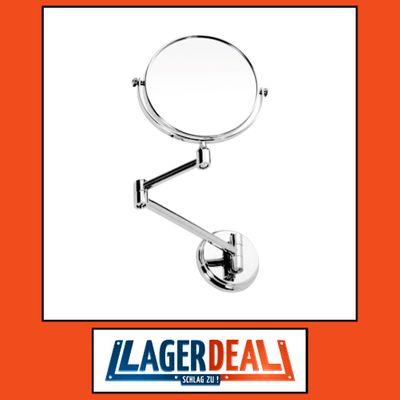 Rasier- und Kosmetikspiegel ohne Beleuchtung 185 x 260 x 420 mm  Messing / Glas Chrom